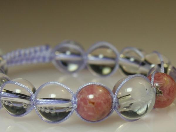 紐あみブレス 水晶AA・インカローズ・四葉クローバーのサムネイル