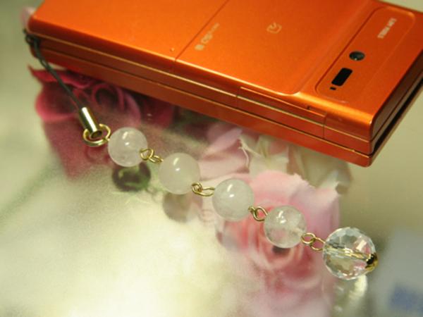 携帯ストラップ 謙虚な愛 モルタバイト(ベリル)・水晶のサムネイル